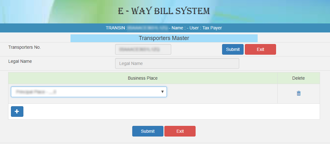 FORM FOR TRANSPORTER MASTER