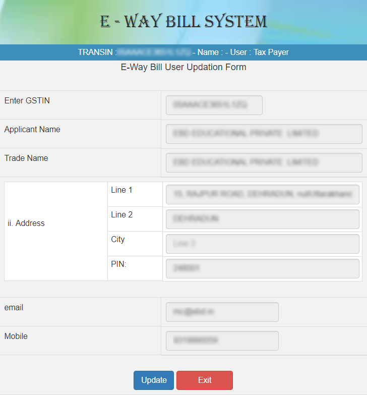 e-WAY BILL USER UPDATION FORM