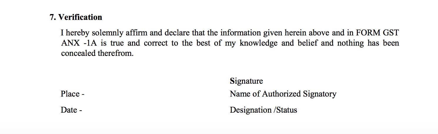 Verification in Sahaj return form GST RET-2