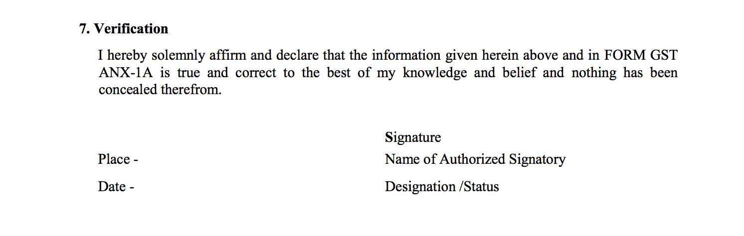 Verification in Sahaj return GST RET-2A
