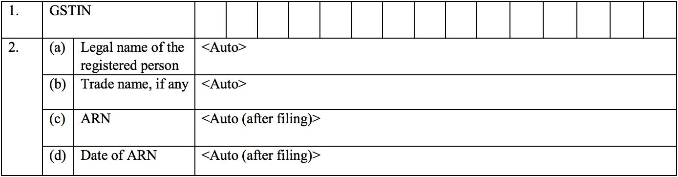 General details in Sugam return form GST RET-3