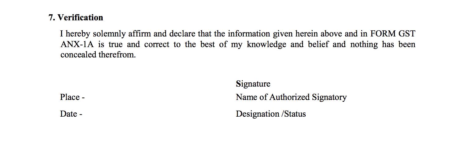 Verfication in Sugam return form GST RET-3A