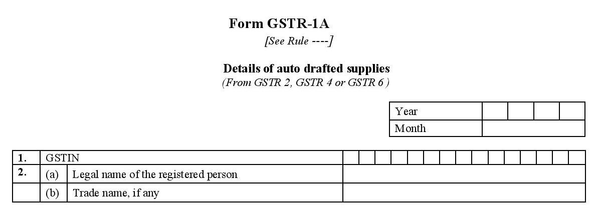 Basic details required for filing GSTR 1A
