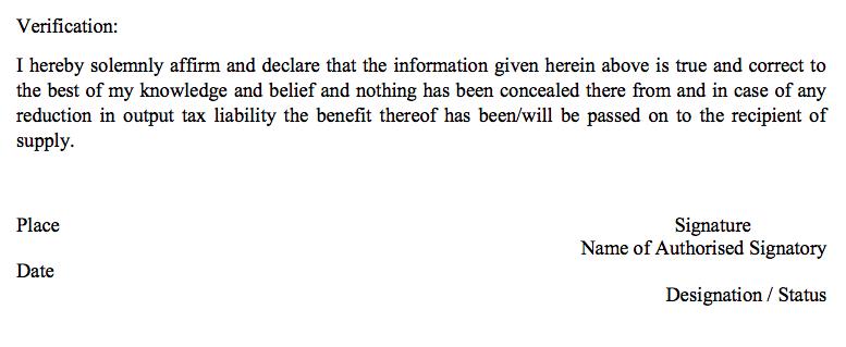 Declaration in GSTR9A