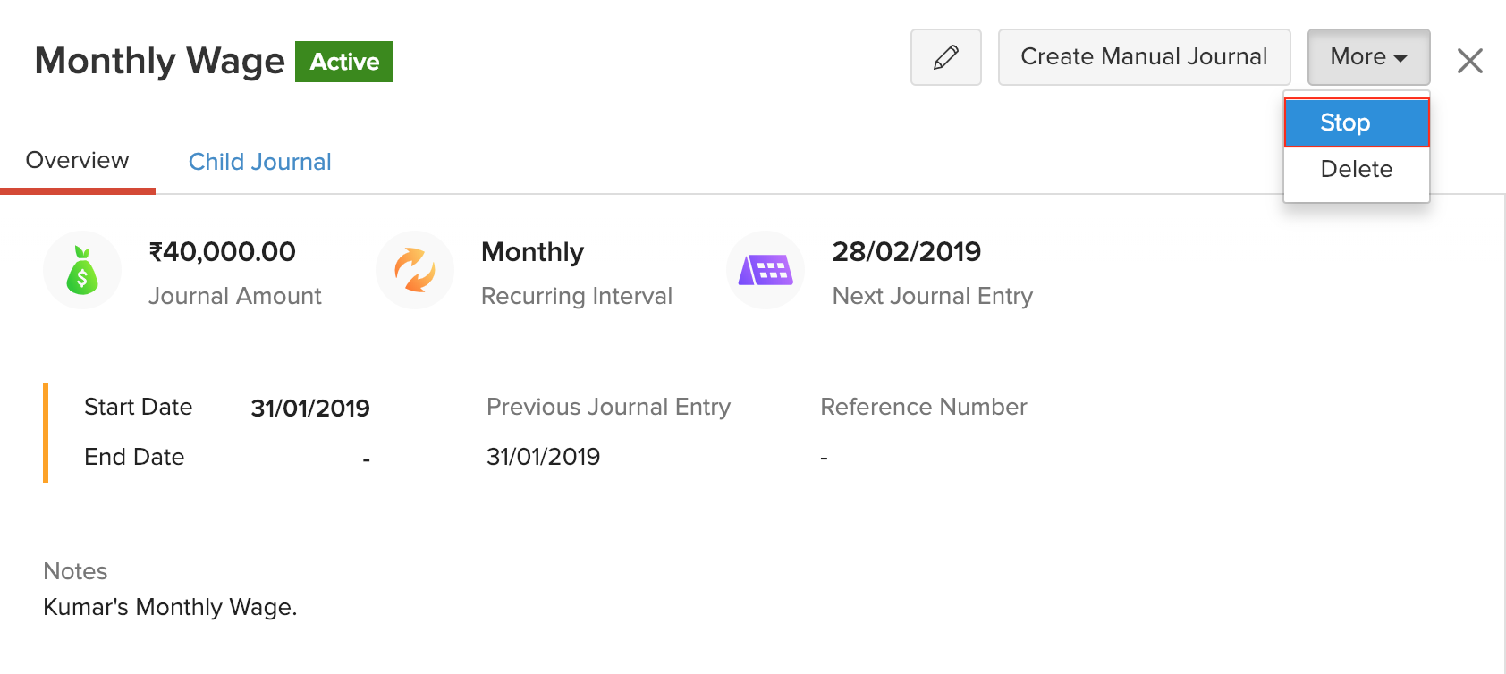Stop Recurring Journals
