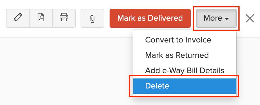Delete Delivery Challan