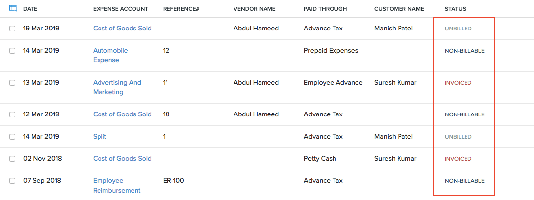 Expense Status