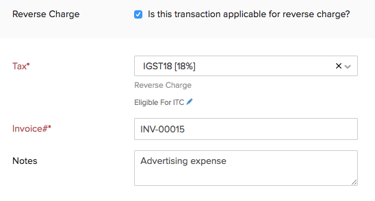 Reverse Charge in Expense