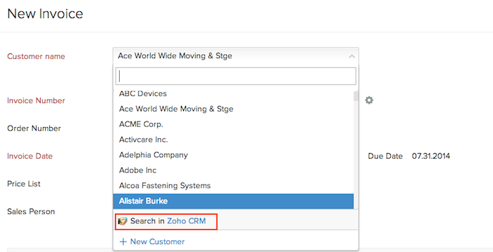 Search in Zoho CRM