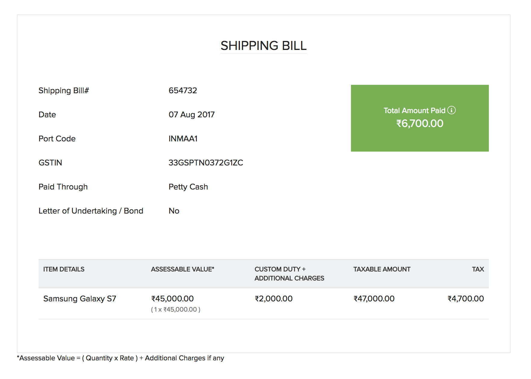 Receipt For Payment Received Template For Manual Shipping Bill Details  Receipt For Payment Receivedhtml