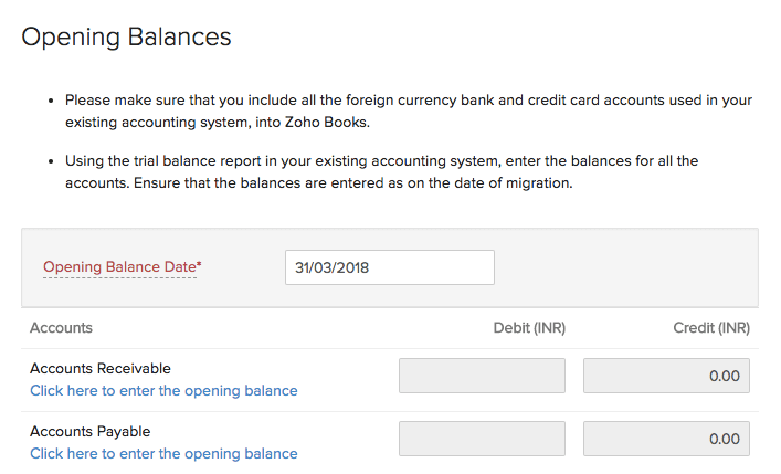 Enter Opening Balances