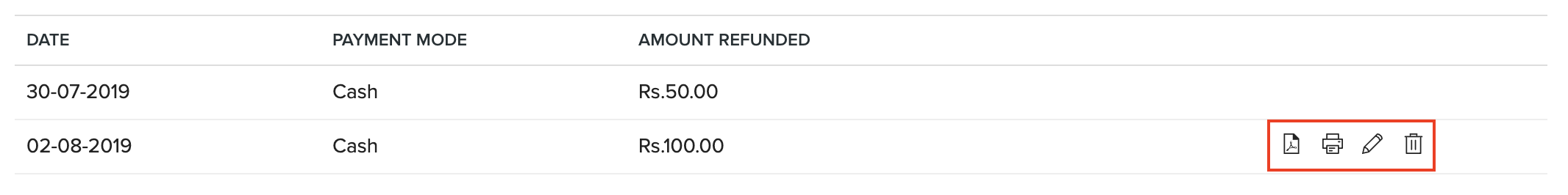 Actions on Refunds