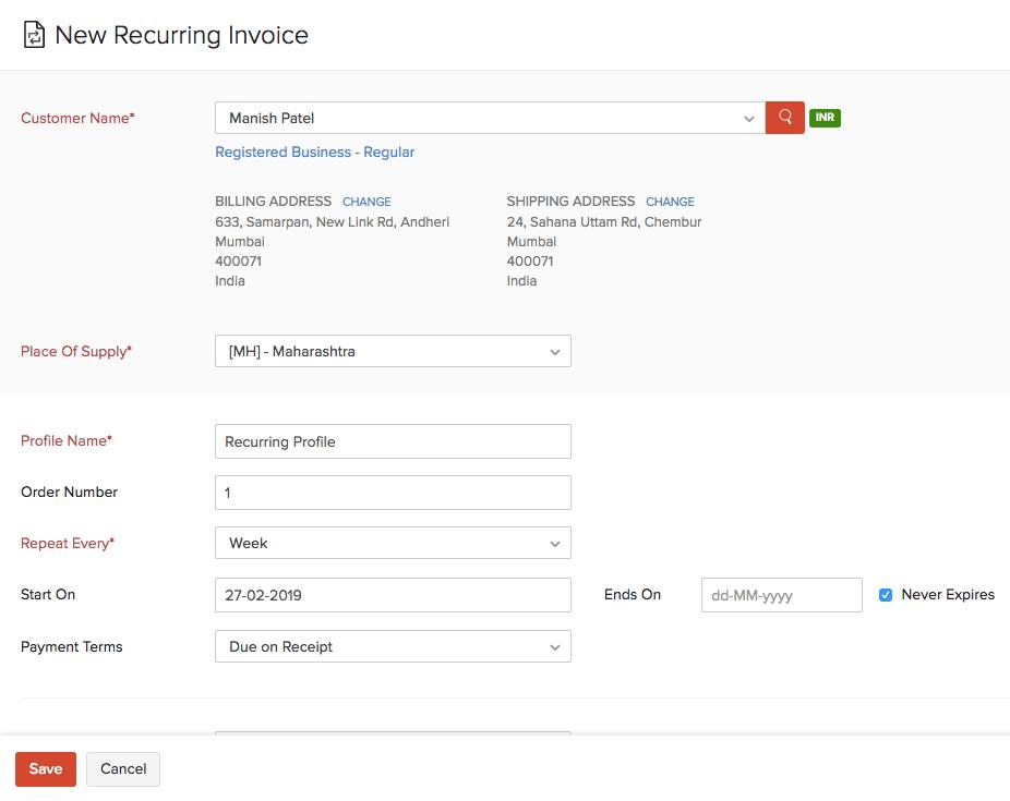 Create Recurring Invoice