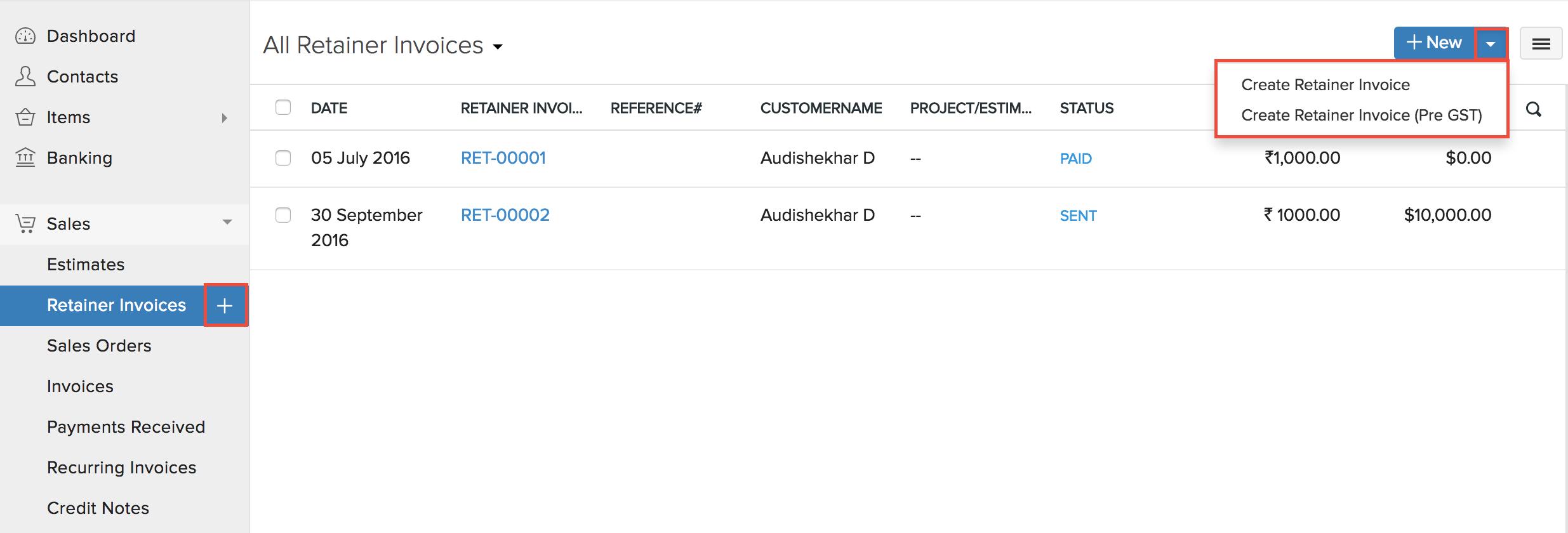 New Retainer Invoice