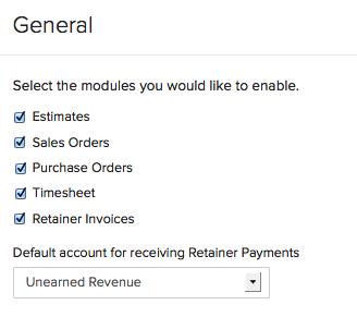 Enabling Retainer Invoice