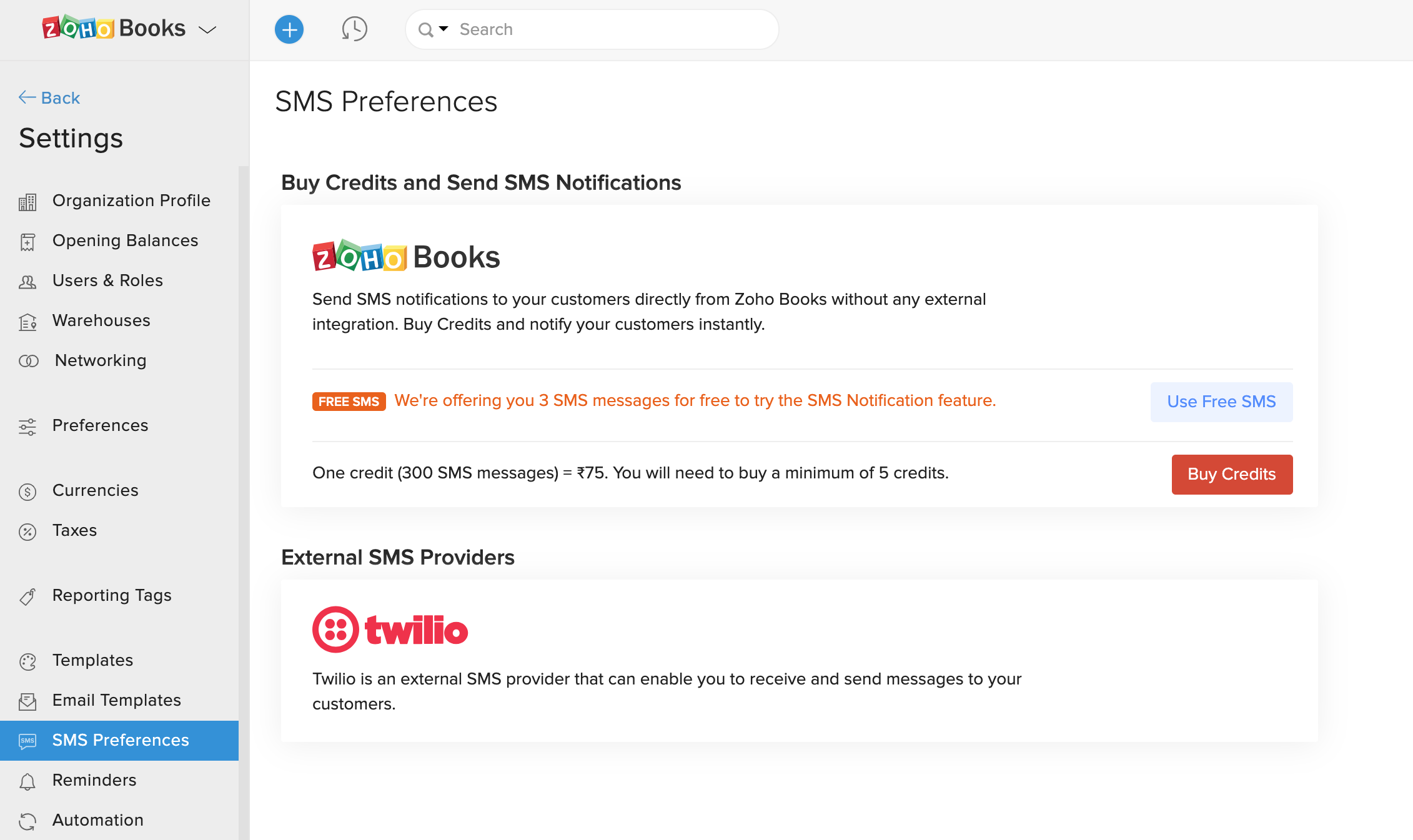 SMS Notifications | Help | Zoho Books