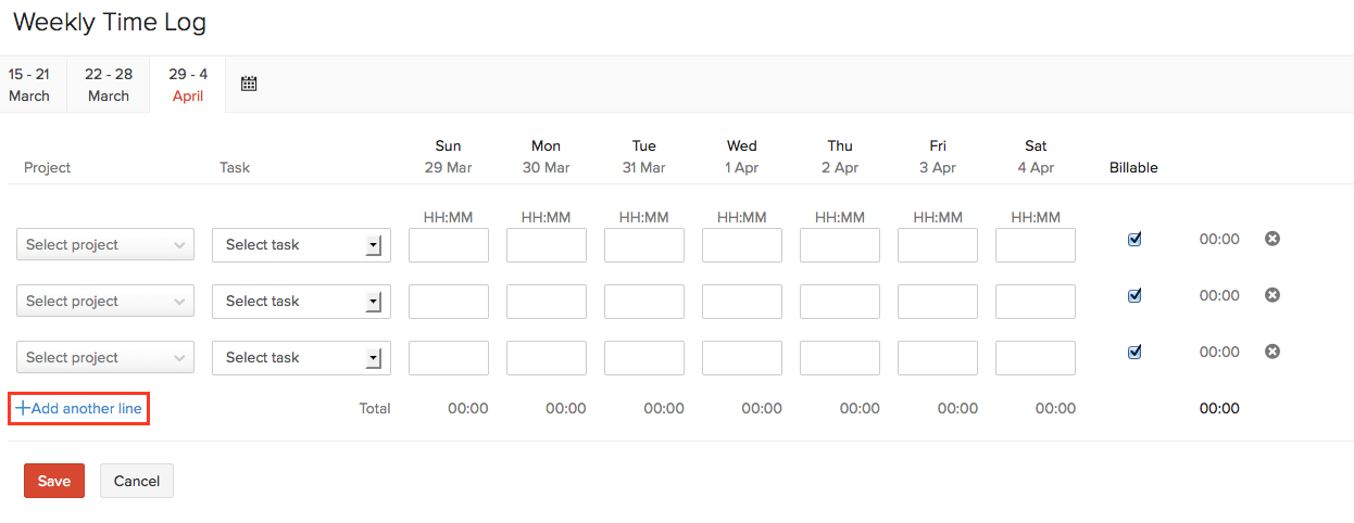 weekly monthly logs for projects timesheets zoho books