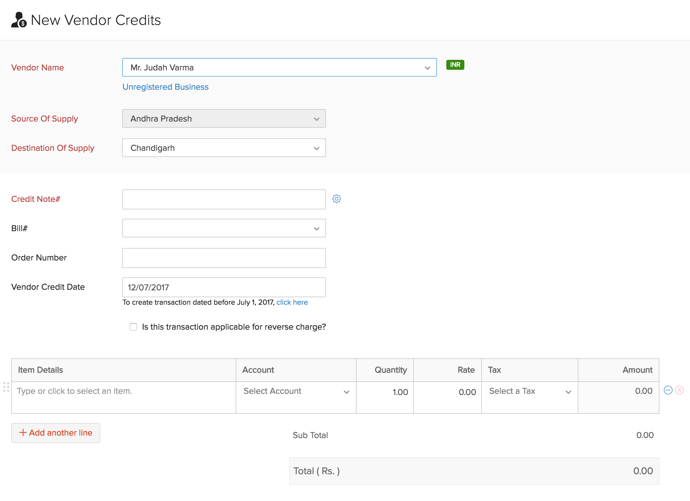 Credit note creation page