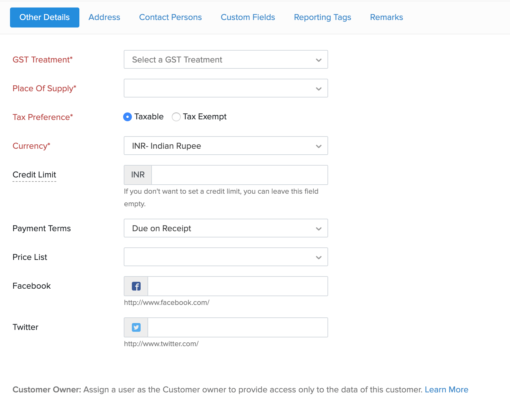 Contact payment details section
