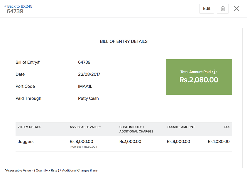 Image of Bill of Entry details page