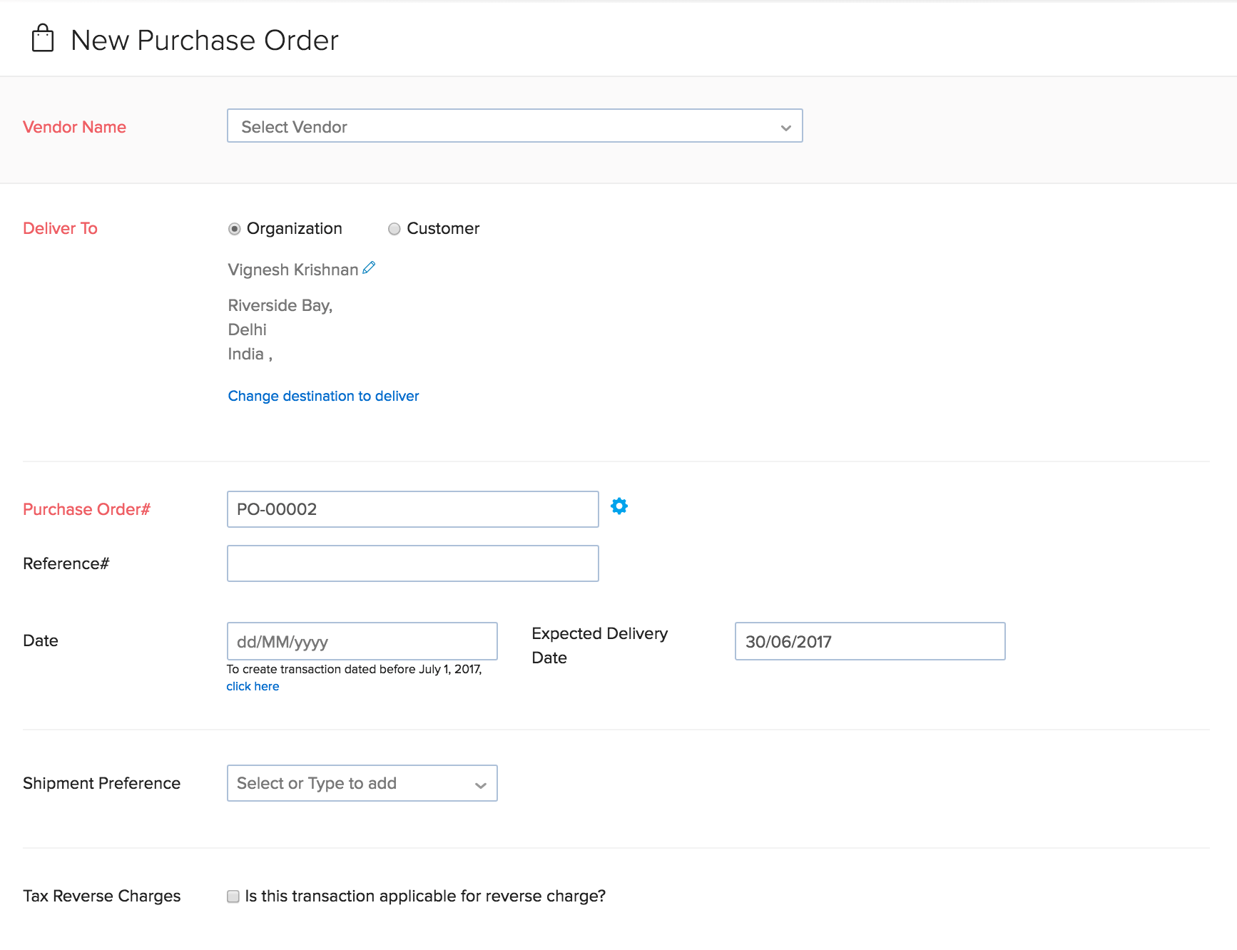 Image of the new PO page vendor details section