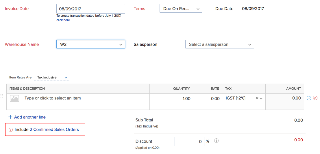Include confirmed Sales order option in invoice