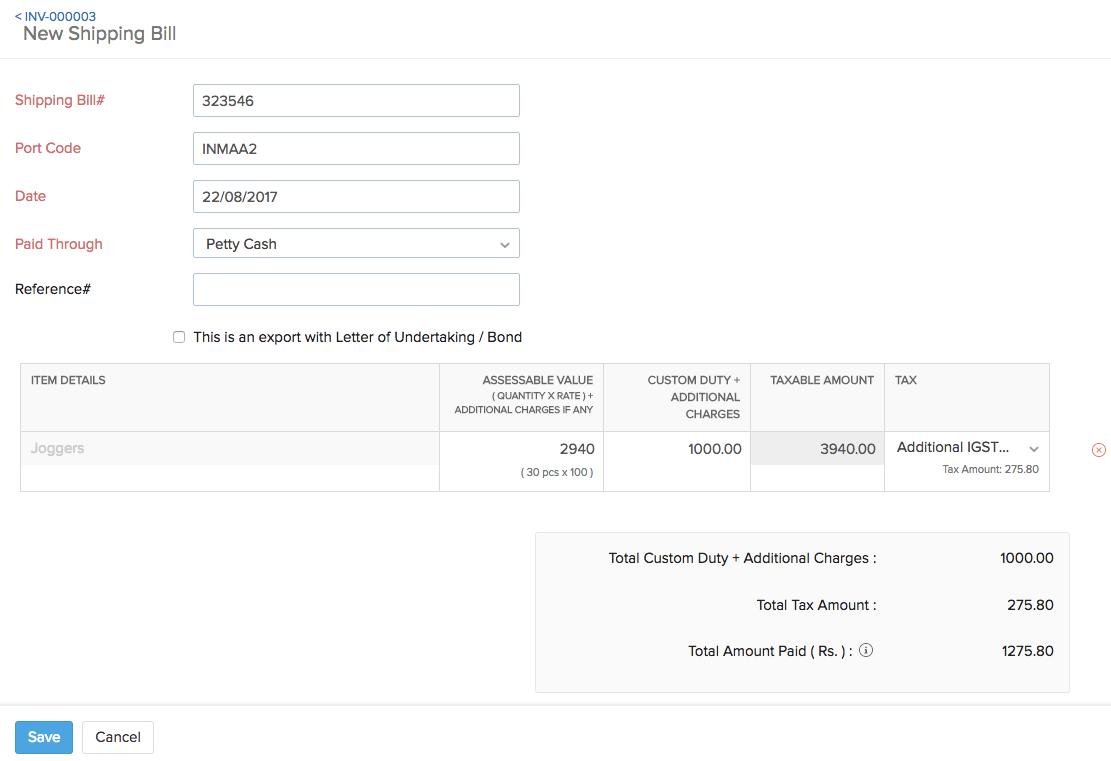 new shipping bill