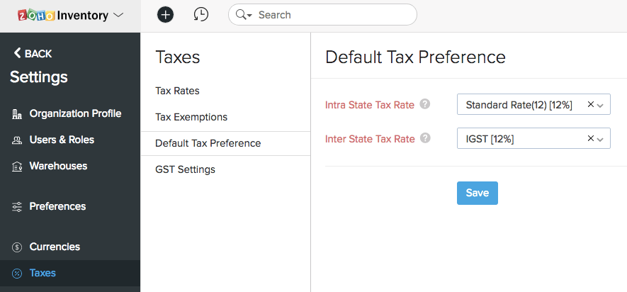Default Tax Preference