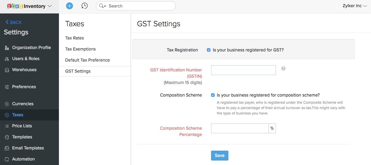 Enable GST Settings