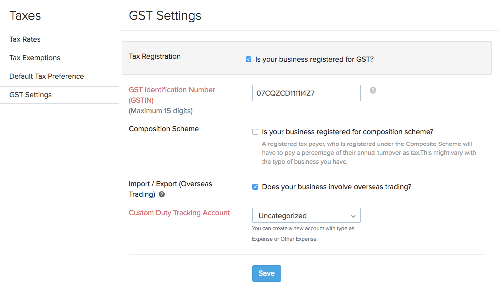 GST Settings