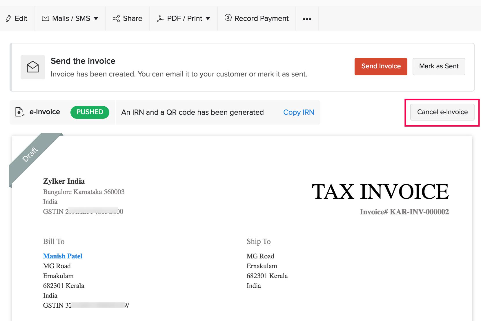 Cancel e-Invoice