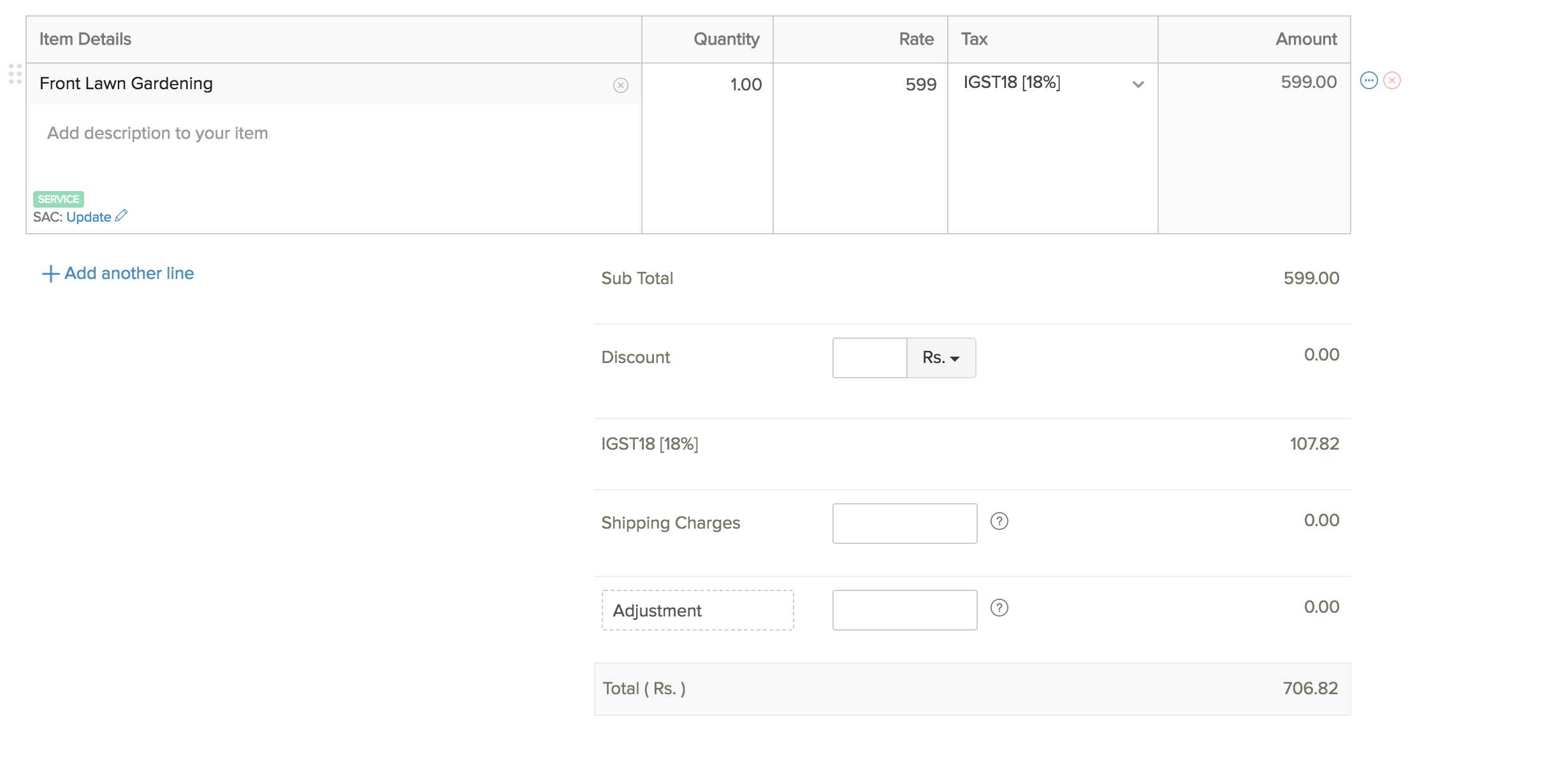 Creating a new invoice - part 2