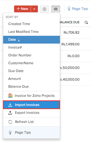 Importing Invoices