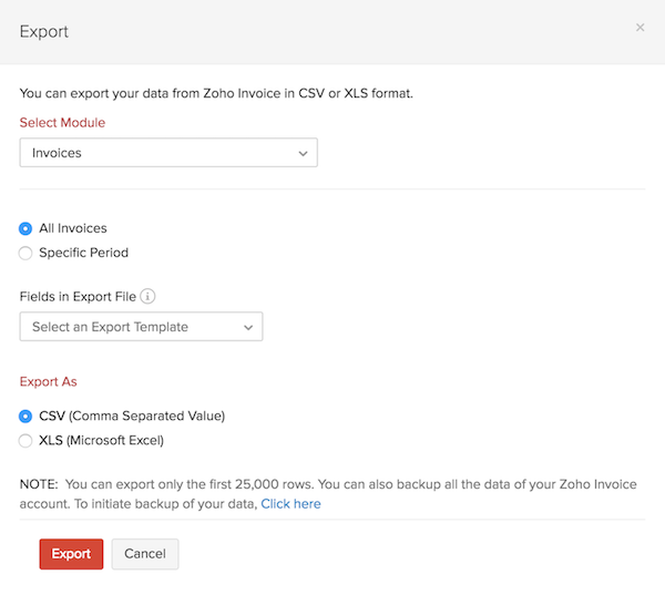 Export invoices Pop-up