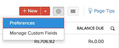 Invoice module settings button