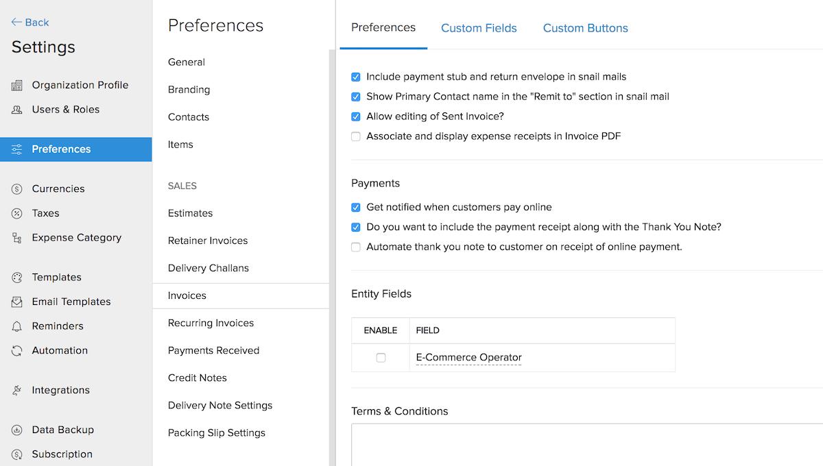 Invoice Preferences