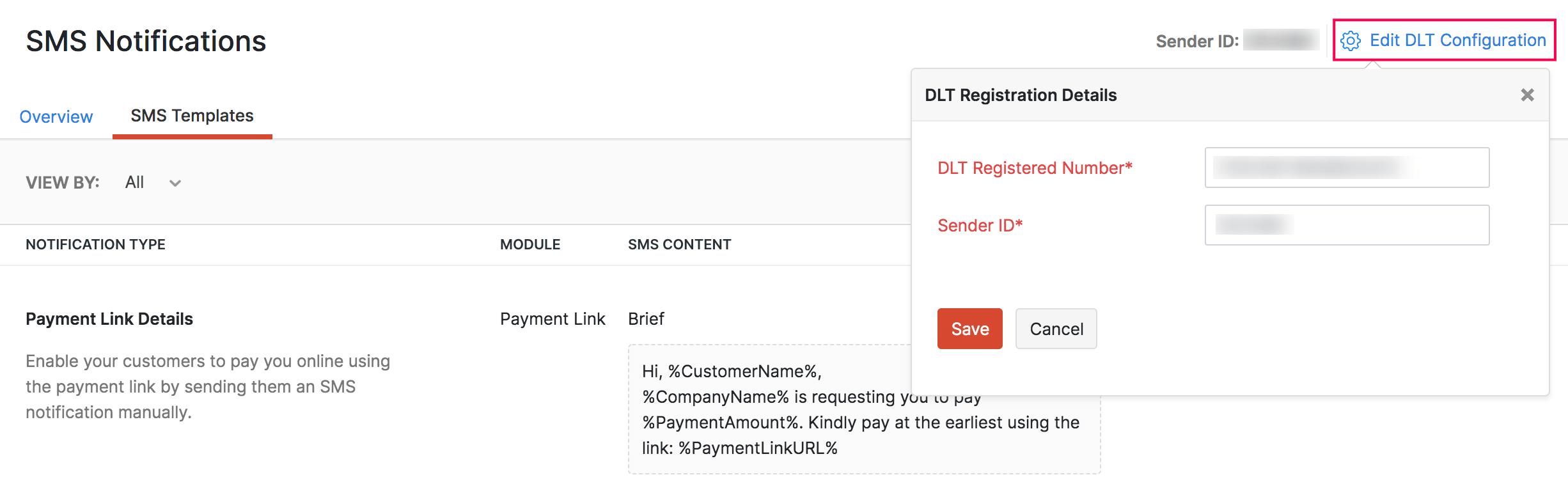 Edit DLT in Zoho Invoice