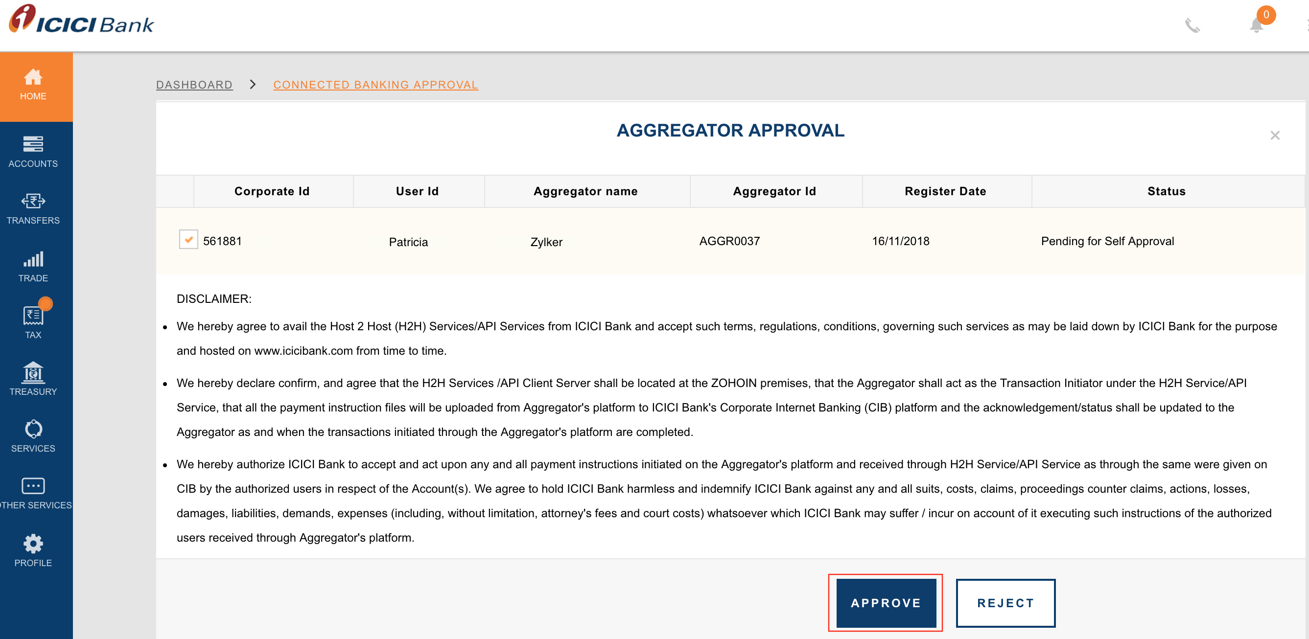 Aggregator Approval