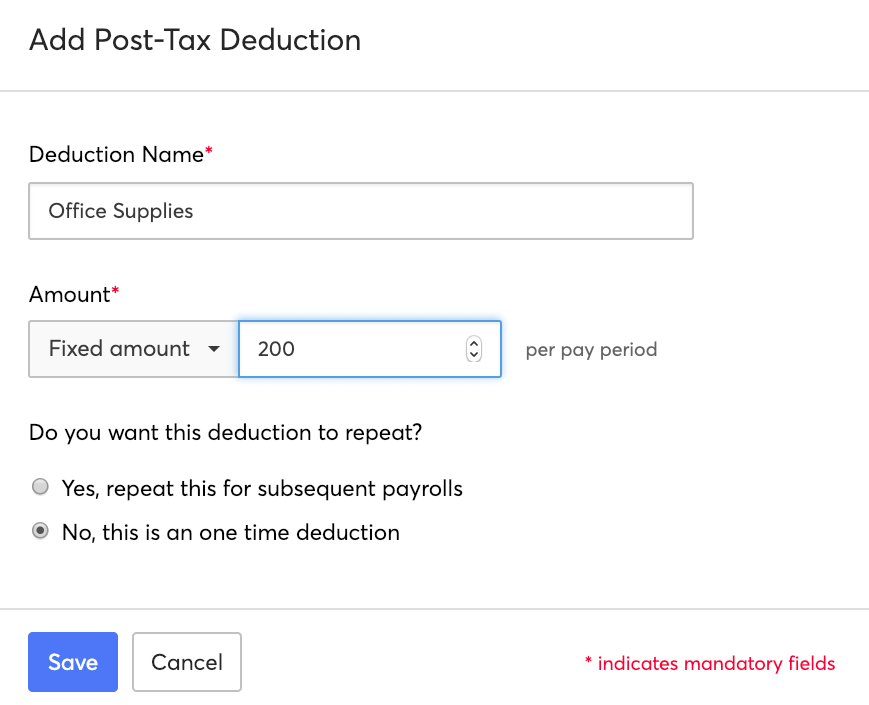 Post-tax Deductions