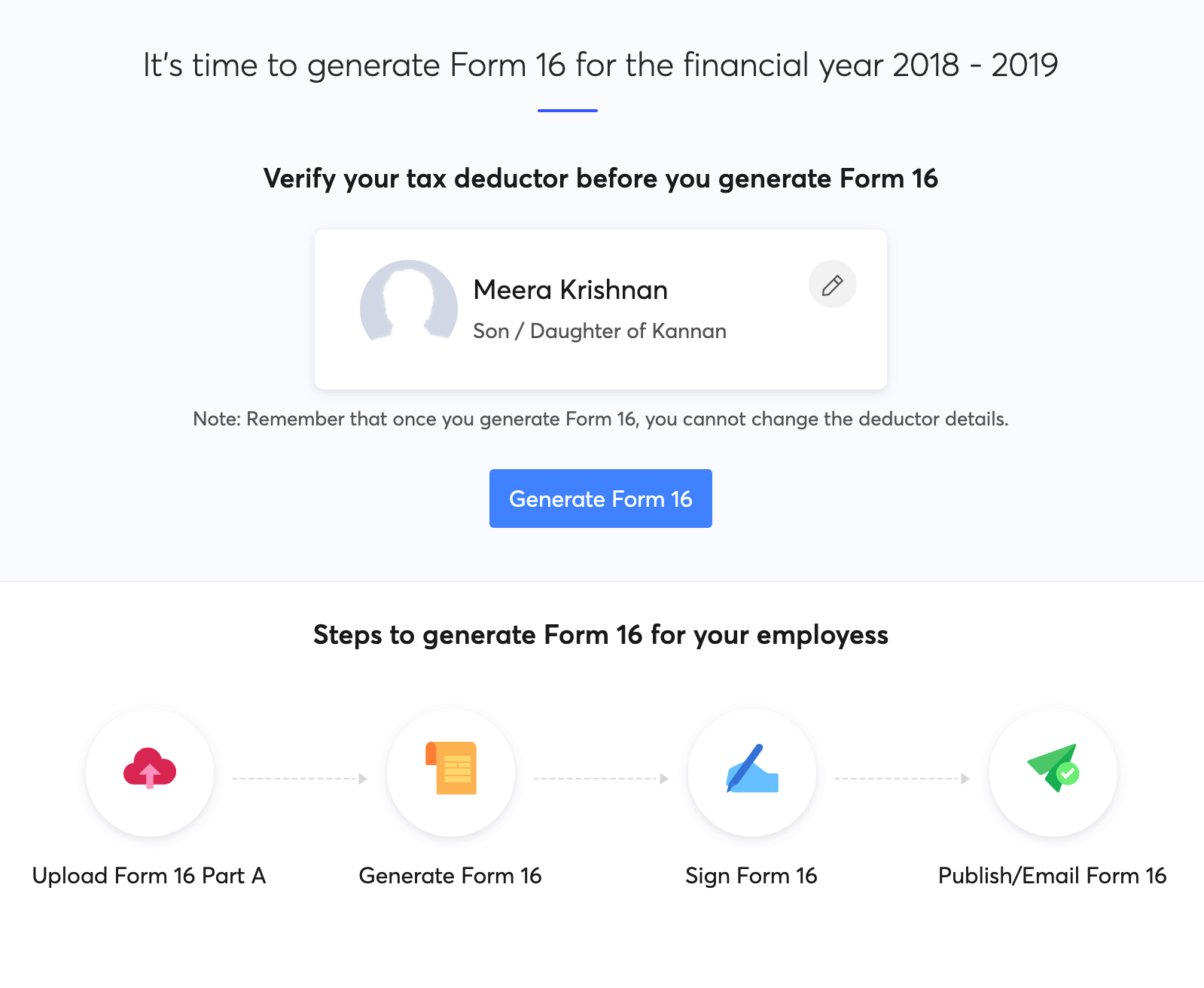 Generate Form 16