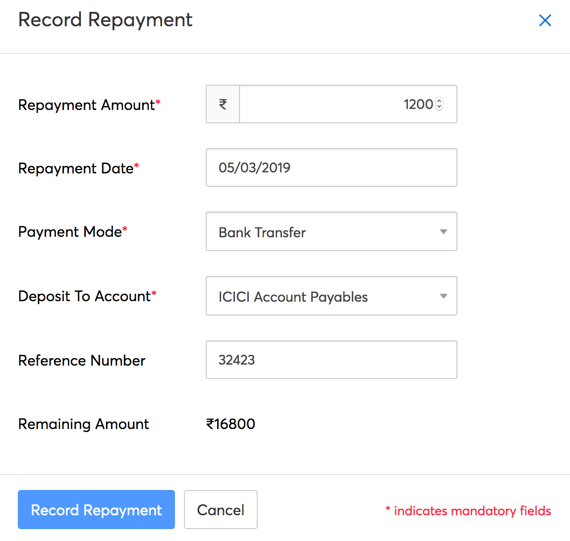Record Repayment Details