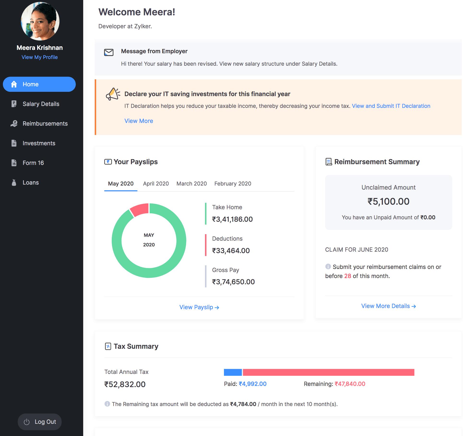 Employee Portal | Zoho Payroll