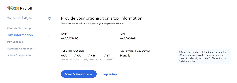 Tax Setup