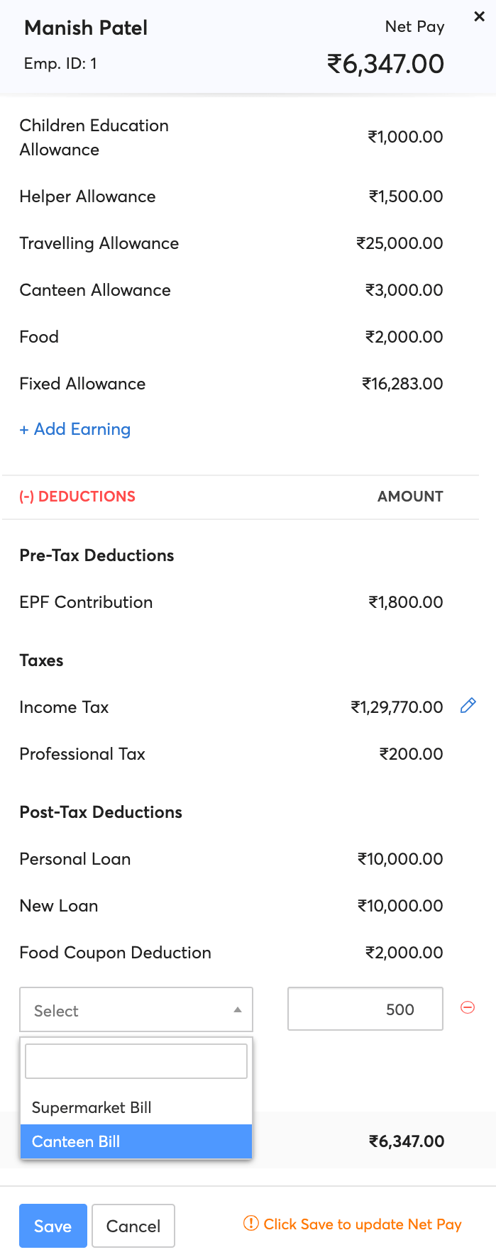 Adding One-time Deductions