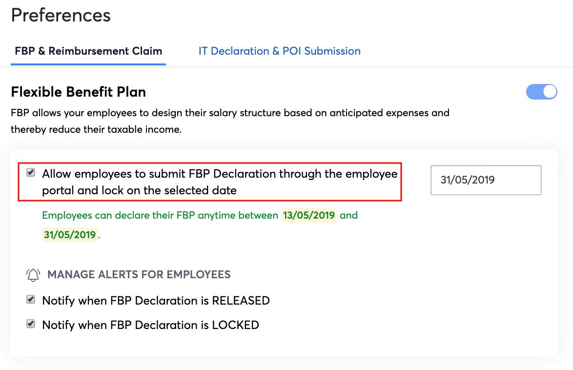 Release FBP Declaration Window