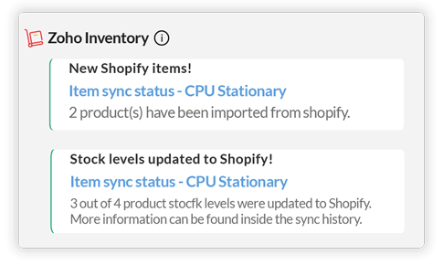 Items Sync notification in Zoho Cliq