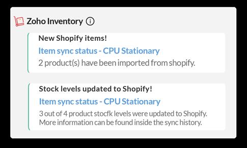 Items Sync notification in Zoho Cliq