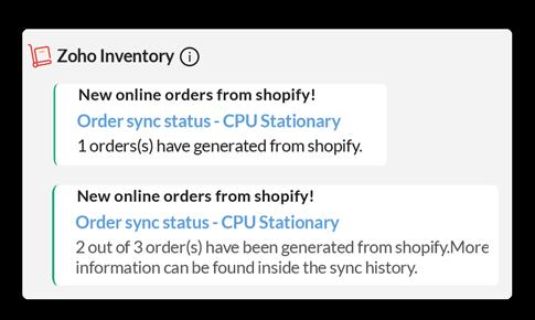 Orders Sync in Zoho Cliq