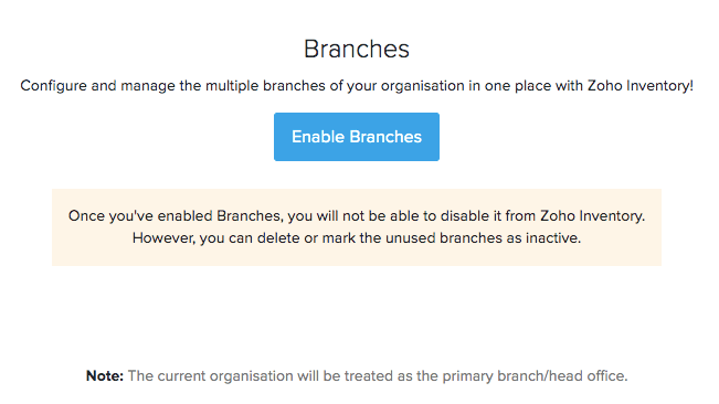 Enable Branches