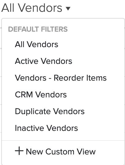 Filter Contacts - Vendor Reorder